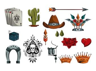Zestaw elementów kolekcji tatuaży