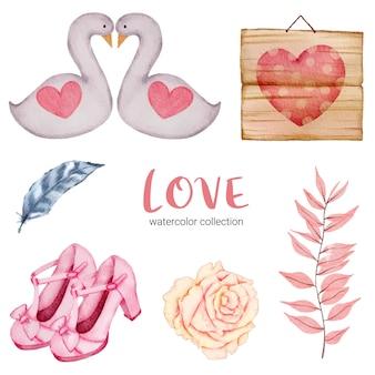 Zestaw elementów koncepcji duży na białym tle akwarela walentynki piękne romantyczne czerwono-różowe serca do dekoracji, ilustracji.