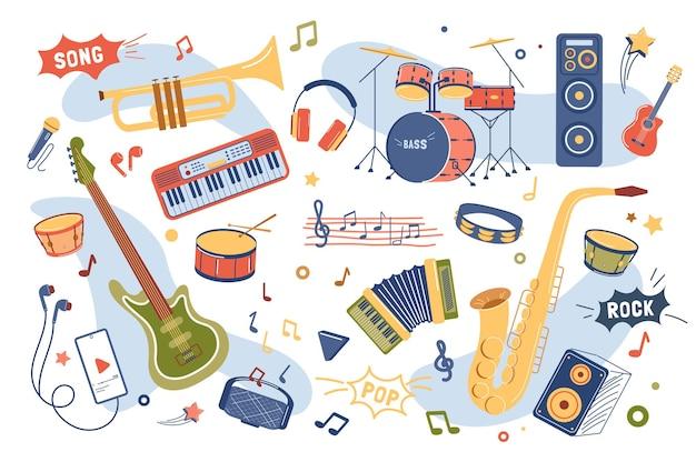 Zestaw elementów koncepcji instrumentów muzycznych na białym tle