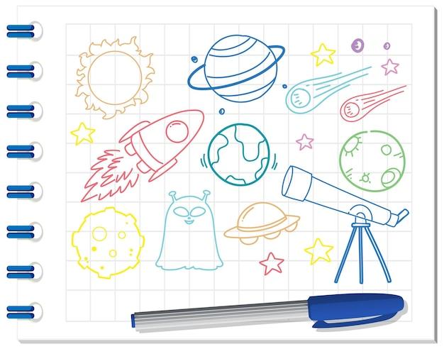 Zestaw elementów kosmicznych doodle na notebooku
