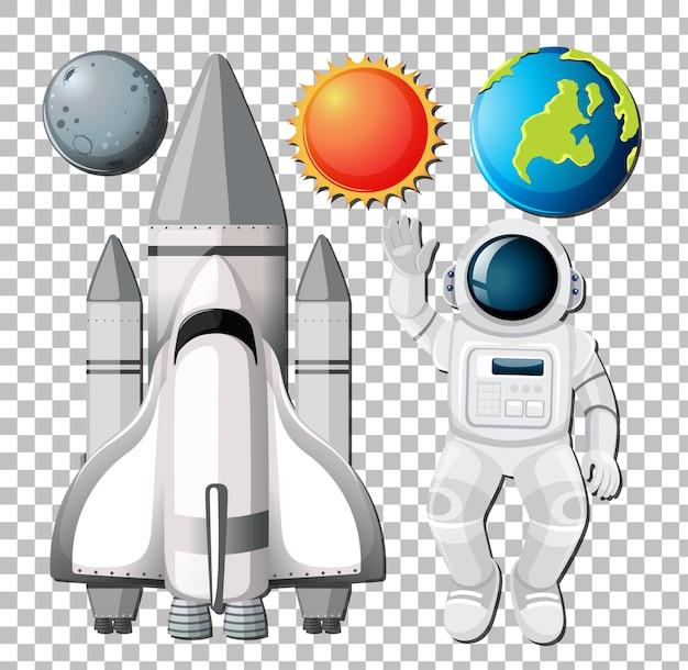 Zestaw elementów kosmicznych z astronautą na przezroczystym tle