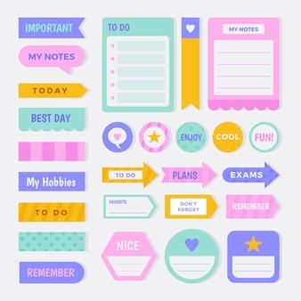 Zestaw elementów kreatywnego notatnika planisty
