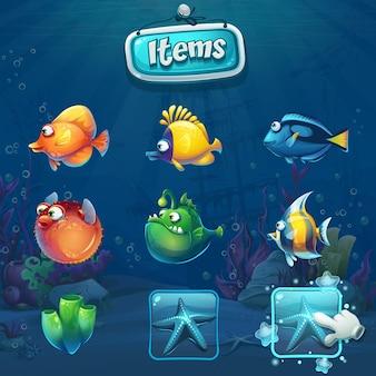 Zestaw elementów kreskówek w podwodnym świecie. krajobraz życia morskiego z różnymi mieszkańcami.