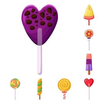 Zestaw elementów kreskówka cukierki i deser. ilustracja na białym tle słodyczy i żywności. elementy zestawu słodyczy deser dzieciństwo.