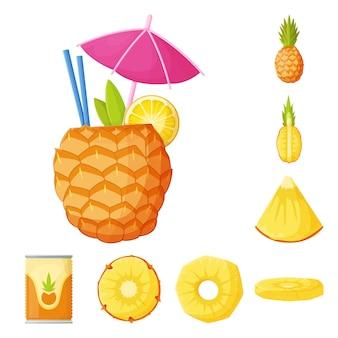 Zestaw elementów kreskówka owoców ananasa. ilustracja na białym tle ananas i deser. zestaw elementów owoców i żywności.