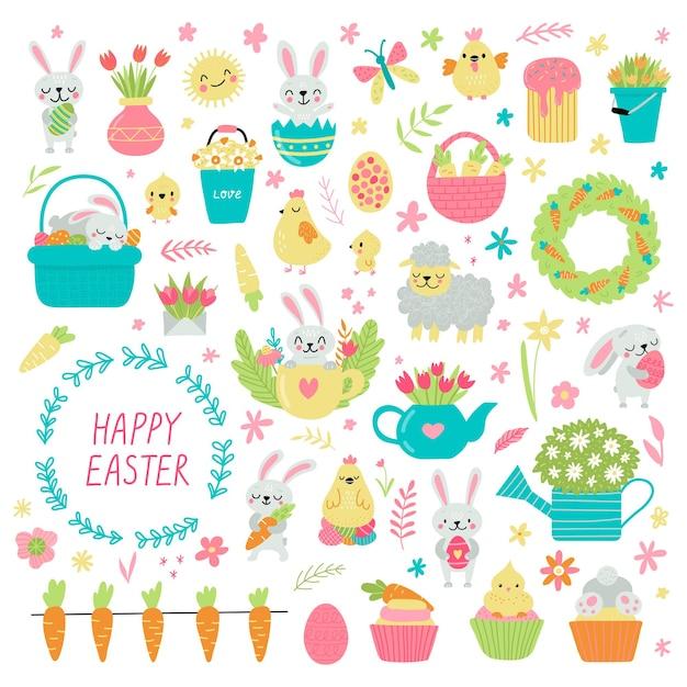 Zestaw elementów kreskówka wielkanoc. królik, kury, jajka i kwiaty.