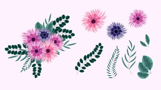 Zestaw elementów kwiatowy na białym tle ilustracji wektorowych elementów projektu kwiatów winorośli