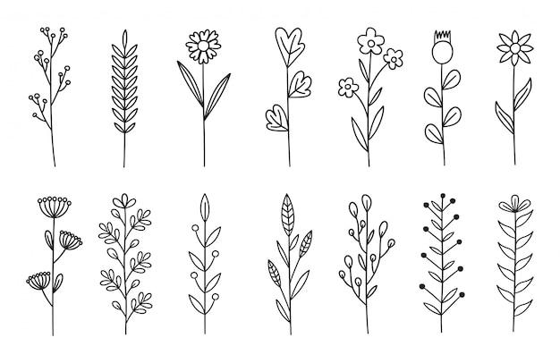 Zestaw elementów kwiatowy wzór. elementy dekoracji na zaproszenie, kartki ślubne, walentynki, kartki z życzeniami. ilustracja.