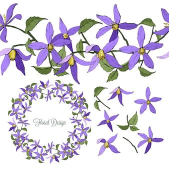 Zestaw elementów kwiatowych powojnika na białym tle