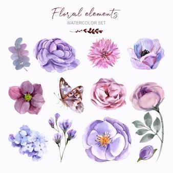 Zestaw elementów kwiatowych z akwarelą