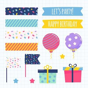 Zestaw elementów ładny notatnik urodziny