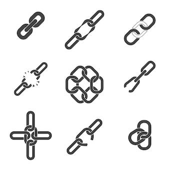 Zestaw elementów łańcucha lub ogniw.