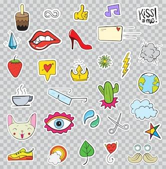 Zestaw elementów łat, takich jak kwiat, serce, korona, chmura, usta, poczta, diament, oczy. ręcznie rysowane śliczna kolekcja modnych naklejek.