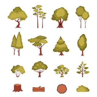 Zestaw elementów leśnych