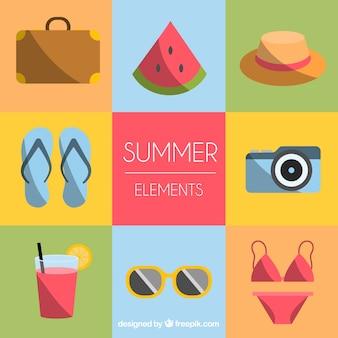 Zestaw elementów letnich z jedzeniem i ubrania w stylu płaski