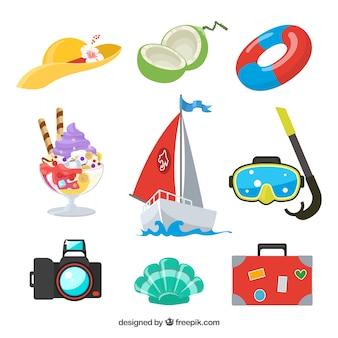 Zestaw elementów letnich z jedzeniem i ubrania w stylu wyciągnąć rękę