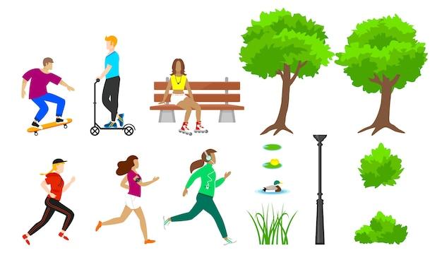 Zestaw elementów letniego parku miejskiego