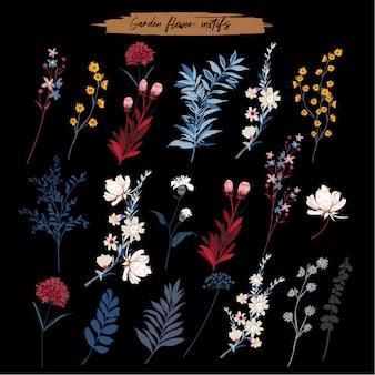 Zestaw elementów liści kwiatowych, botanicznych, ogrodowych.