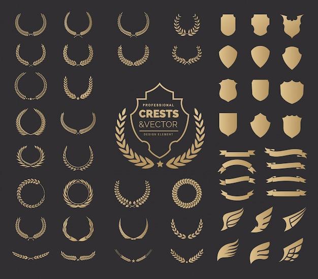 Zestaw elementów logo crests. logo szmaragdowe, wieńce laurowe w stylu vintage, elementy do projektowania elementów logo