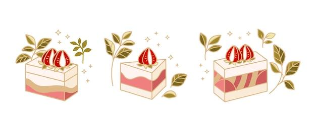 Zestaw elementów logo ręcznie rysowane ciasto, ciasta i piekarnia z kwiatowym liściem i owocami truskawek na białym tle