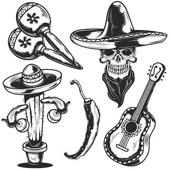 Zestaw elementów meksykańskich do tworzenia własnych odznak, logo, etykiet, plakatów itp. na białym tle.