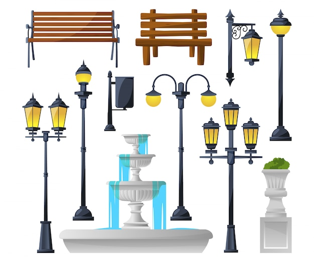 Zestaw elementów miejskich. lampy uliczne, fontanna, ławki parkowe i kosze na śmieci.