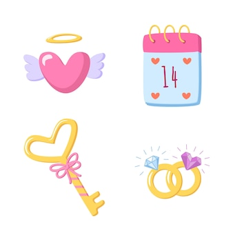 Zestaw elementów miłości na walentynki w stylu kreskówka na białym tle. ręcznie rysowane romantyczne gryzmoły w kształcie serca, klucza, kalendarza, obrączek ślubnych. słodka ilustracja ...