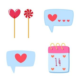 Zestaw elementów miłości na walentynki w stylu kreskówka na białym tle. ręcznie rysowane romantyczne gryzmoły w kształcie serca, lizaki, kalendarz, bąbelkowa ilustracja.