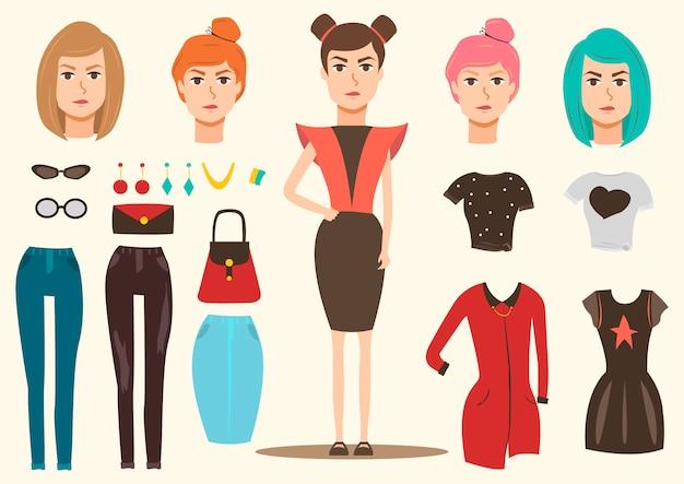 Zestaw elementów modelu mody