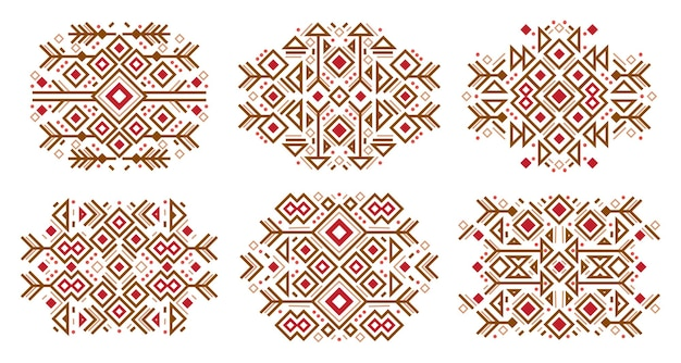 Zestaw elementów mody meksykańskich azteckich rdzennych amerykańskich elementów navajo