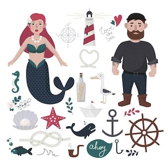 Zestaw elementów morskich. żeglarz, syrenka, kotwica, muszla, perły, mewa, kierownica, łódka, latarnia morska.