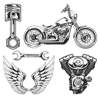 Zestaw elementów motocykla