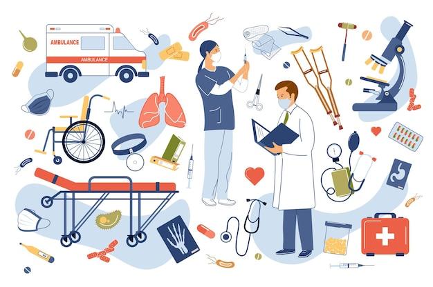 Zestaw elementów na białym tle koncepcja kliniki medycznej