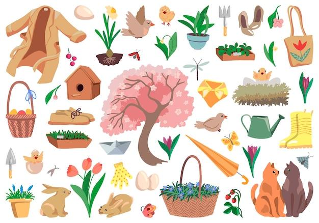 Zestaw elementów na temat wiosny na białym tle. rysunki roślin, zwierząt, wiosenne atrybuty i akcesoria. ręcznie rysowane ilustracje wektorowe. kolorowe gryzmoły kreskówek dla projektu.