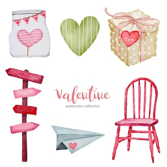 Zestaw elementów na walentynki, krzesło, papierowy samolot, prezent i nie tylko.