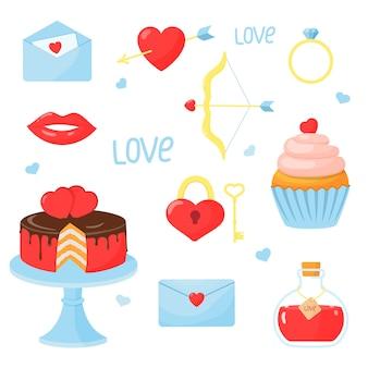 Zestaw elementów na walentynki: serduszko, ciasto, babeczka, strzała i łuk, pierścionek, list, eliksir miłości, zamek z kluczem. ilustracja w stylu kreskówki.