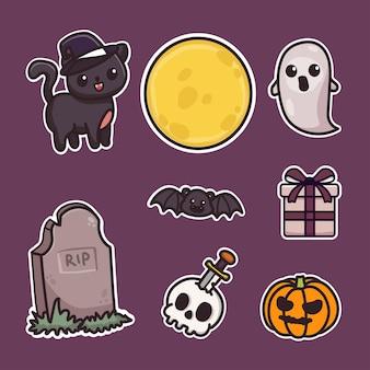 Zestaw elementów naklejek halloween. czarny kot, duch, prezent na halloween, czaszka, grób i pełnia księżyca.