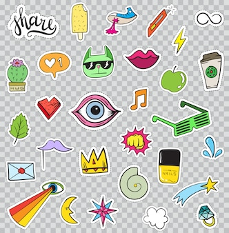 Zestaw elementów naklejek, takich jak kwiat, serce, korona, chmura, usta, poczta, diament, oczy. wyciągnąć rękę. kolekcja modnych naklejek.