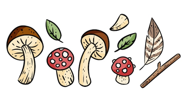Zestaw elementów natury kreskówka. grzyby, liście.