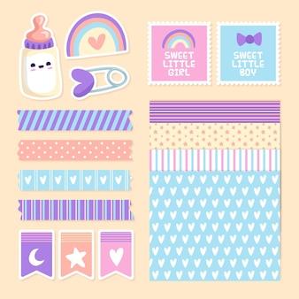 Zestaw elementów notatnika baby shower