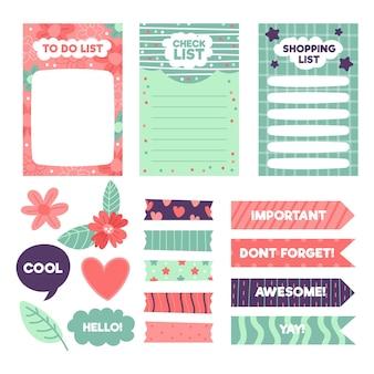 Zestaw elementów notatnika creative planner