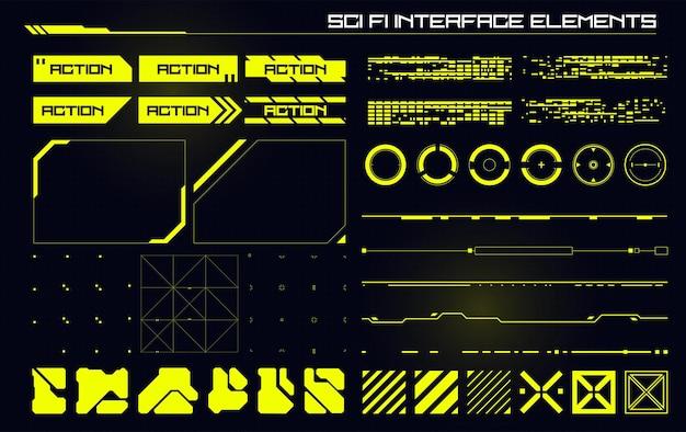 Zestaw elementów nowoczesnego interfejsu użytkownika sci fi futurystyczny abstrakcyjny hud