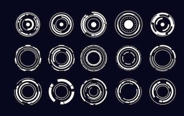 Zestaw elementów nowoczesnego interfejsu użytkownika sci fi. futurystyczny streszczenie hud. dobre dla interfejsu gry. elementy koła do infografiki danych. ilustracja wektorowa