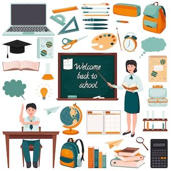 Zestaw elementów o tematyce szkolnej. płaski styl