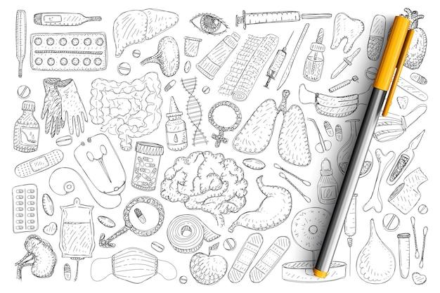 Zestaw elementów odzyskiwania zdrowia doodle