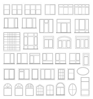 Zestaw elementów okiennych do projektowania rysunków architektoniczno-budowlanych. ilustracja w kolorze czarnym na białym tle.