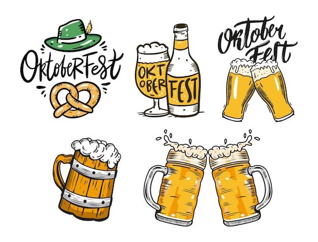 Zestaw elementów oktoberfest. piwo, kufle i butelka. ilustracja wektorowa na białym tle