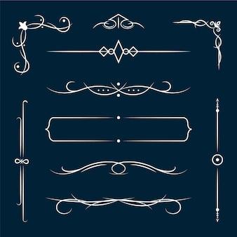 Zestaw elementów ozdobnych kaligrafii