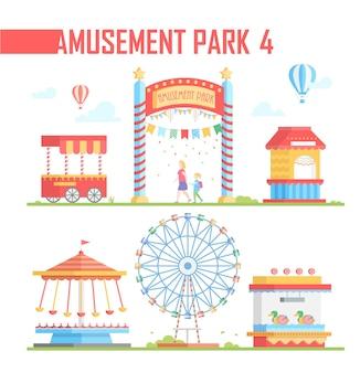 Zestaw elementów parku rozrywki - nowoczesny wektor ilustracja na białym tle. duże koło, balony na ogrzane powietrze, kasa biletowa, karuzele, atrakcja, van. koncepcja rozrywki