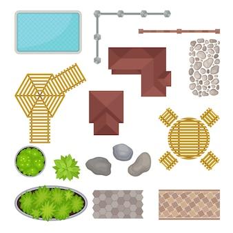 Zestaw elementów parku. widok z góry. ilustracja.